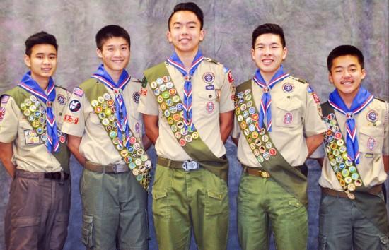 From left: Jonathan Yutaka Tondo, Mitchell T. Tanaka, Timothy Masahiko Kubota, Derek Tsutomu Inouye, and Mitchell Y. Fujimura.