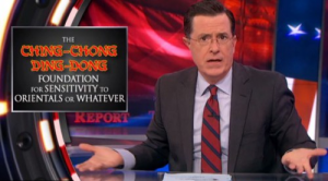 "A scene from the March 26 episode of ""The Colbert Report."""
