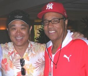 Gerald Ishibashi with former Temptations singer Richard Street.