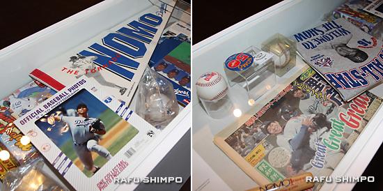 野茂氏のドジャース時代の数々のグッズが展示されている