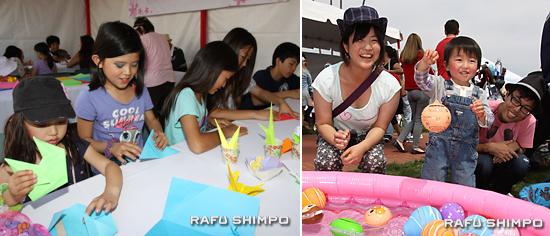 【写真右】夢中になって折り紙を折る女の子【同左】ヨーヨーを釣りご機嫌の男の子