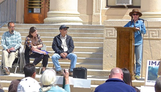 At an April 1 press conference, held on the steps of the Inyo County Courthouse in Independence, stakeholders called on the Inyo County Board of Supervisors to protect the Owens Valley from large-scale, industrial renewable energy development. From left: Alan Bacock, Big Pine Paiute Tribe of the Owens Valley; Mary Roper, president, Owens Valley Committee; Bruce Embrey, co-chair, Manzanar Committee; Meredith Hackleman, Los Angeles community/environmental activist.
