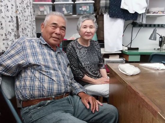 """Let's Knit Yarn Shop, which opened in 1973, is going to close its doors at the end of this month. The owner, Saeko Oyama, is going to turn 80 soon. """"The store began as a hobby but I am glad that she found something she has a passion for,"""" husband Matsuo Fukunaga (left) says."""