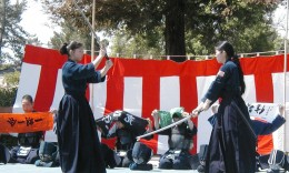 Demonstrations of kendo (above) and judo (below) at a previous Cupertino Cherry Blossom Festival. (Photos by J.K. Yamamoto)