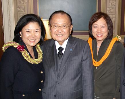 From left: Irene Hirano Inouye, Sen. Daniel Inouye, Rep. Colleen Hanabusa