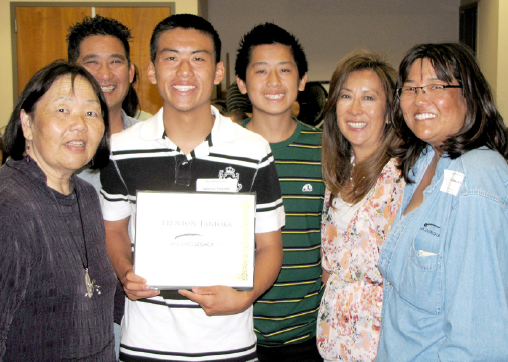 2011 Iwasaki Scholar Trenton Tanioka and his family along with Sharon Tani and Susan Uyemura from JA Living Legacy.