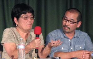 Panelists Ellen Kameya and Eric Arimoto.