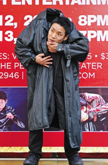 Kenichi Ebina seems to lose his head during an event in Monterey Park, to announce his shows this weekend at Pechanga Resort and Casino. (MIKEY HIRANO CULROSS/Rafu Shimpo)