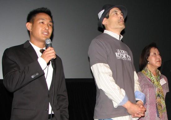 """Lil Tokyo Reporter"" director Jeffrey Chin, lead actor Chris Tashima and executive producer Carole Fujita. (Rafu Shimpo photo)"