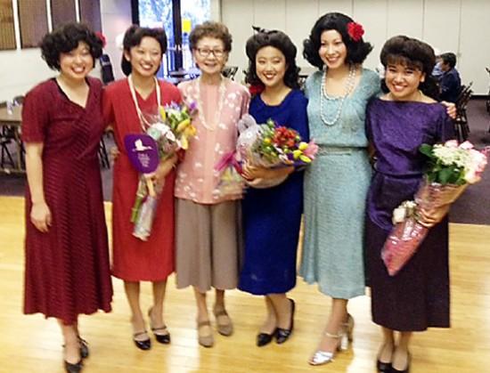 "The cast of ""Nisei Serenade"" (from left): Aimee Machida, Lisa Horikawa, Mary Nomura, Miko Shudo, Erika Mariko Olsen, Alyssa Nakamoto."