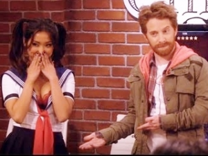 "Brenda Song tries to satisfy her boss (Seth Green) by giggling to play up to Chinese businessmen on ""Dads."""
