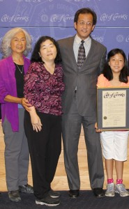 Honoree H. Ernie Nishii with (from left) his mother Jane Nishii, wife Young Choi and daughter Yuni.