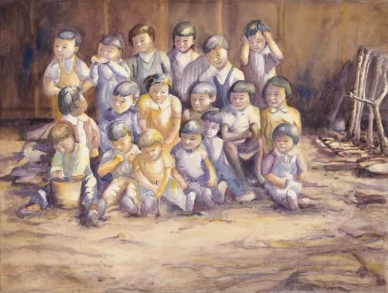 """E.O. 9066, Series 24:  """"'Non-Alien' Nursery School Class, 1942-45,"""" watercolor, 22""""x30"""""""