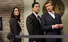"Robin Tunney, Tim Kang, and Simon Baker of ""The Mentalist."""