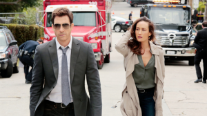 "Dylan McDermott and Maggie Q in CBS' ""Stalker."""