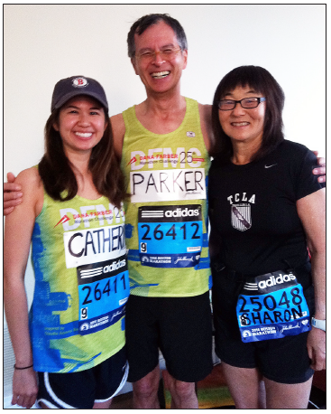 With Catherine and Parker Simes at the 2014 Boston Marathon.