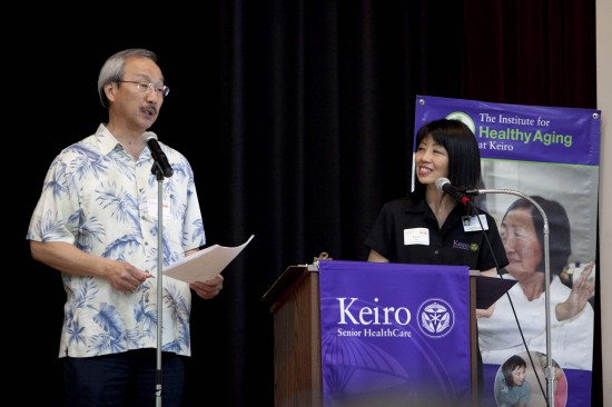 Jim Miyabe, pastor of Venice Santa Monica Free Methodist Church and chair of the conference planning committee, and Dianne Kujubu Belli, chief administrative officer of Keiro Senior HealthCare, talked about the critical need for caregiver support in the community.