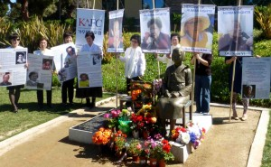 Supporters of the comfort women memorial rally in Glendale.
