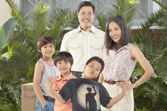 "The cast of ""Fresh Off the Boat"" includes Hudson Yang (front) as Eddie, Randall Park and Constance Wu as his parents, and Forrest Wheeler and Ian Chen as his brothers. Photo by Kevin Foley/ABC"