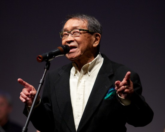 George Yoshida performing with the J-Town Jazz Ensemble at the celebration of Kimochi Home's 30th anniversary on May 18, 2013 at the Sundance Kabuki Cinemas in San Francisco Japantown.
