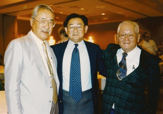 """Horizontal Hank"" Gosho, Grant Hirabayashi and Roy Matsumoto at a Merrill's Marauders reunion."