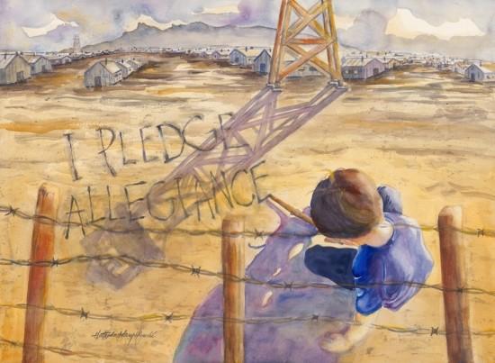 """E.O. 9066, Series 23: """"I Pledge Allegiance,"""" watercolor,  22""""x30"""""""