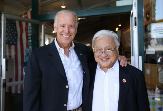 Rep. Mike Honda, pictured with Vice President Joe Biden, has emphasized his Washington connections.