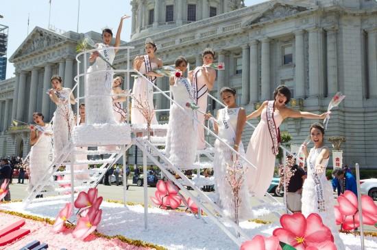 nisei week, 2013 cherry blossom courts clown around