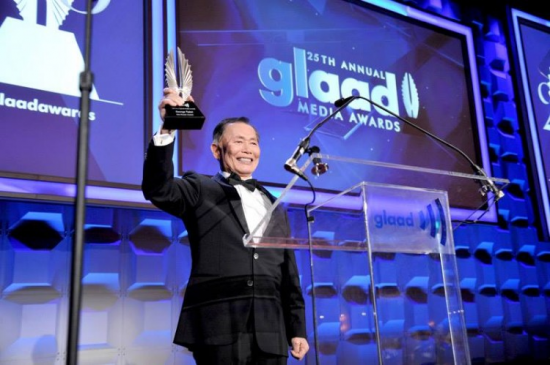 George Takei received GLAAD's Vito Russo Award at a ceremony in New York.
