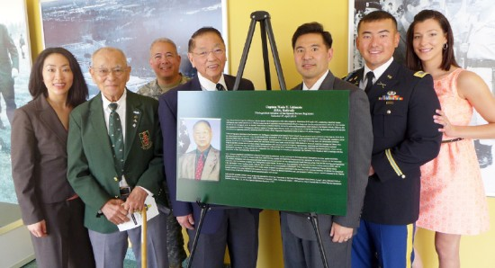 From left, Lt. Col. Kay Wakatake; Command Sgt. Maj. Ernest Tabata; Lt. Col. Jason Kuroiwa; Wade Ishimoto; Lt. Col. (retired) Mark Nakagawa; 2nd Lt. Yohei Sakamoto; Jacklyn Sakamoto. Taken at Fort Bragg in North Carolina on April 25 at the John F. Kennedy auditorium. (Photo courtesy of Lt. Col. Nakagawa)