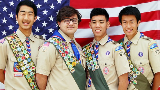Boy Scout Troop 378 Eagle Scouts (from left) Wesley Kitagawa, Evan Cooper, Matthew Young and Keith Nishihara.