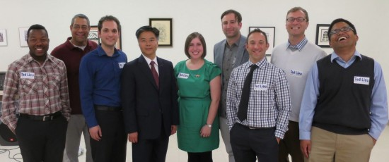 Congressional candidate Ted Lieu (fourth from left) with members of the Miracle Mile Democratic Club.