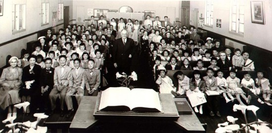 Wintersburg Japanese Presbyterian Church congregation, circa April 1956.