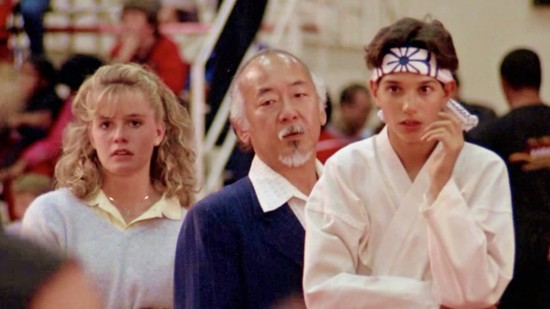 "At the tournament: Elisabeth Shue, Noriyuki ""Pat"" Morita, and Ralph Macchio."