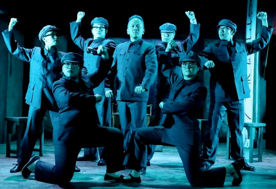 "Radmar Jao (center) as Deng Xiaoping, surrounded by the hardliners played by (from left) Nancy Lam, Carissa Dizon, Jason Ko, Marc Oka, Cailan Rose and Jay Gamboa in East West Players' musical ""Beijing Spring,"" playing through June 15."