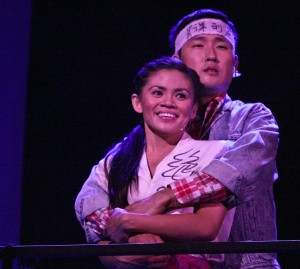 "Qiao (Nicole Barredo) and Xian (Daniel May) look out across Tiananmen Square in awe of how the student movement has grown in East West Players' musical ""Beijing Spring."""