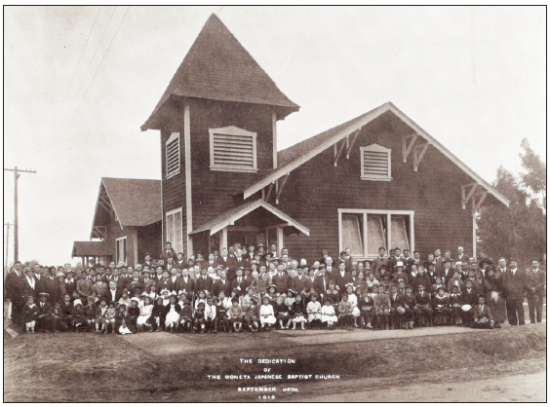 A photo taken in 1919 shows Gardena Valley Baptist Church, known then as Moneta Japanese Baptist Church.