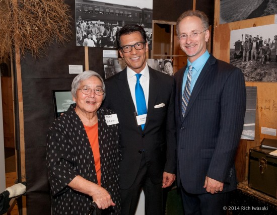"Co-producers David Ono (center) and Jeff MacIntyre are shown with Heart Mountain internee Miyuki Yasui during their recent screening of their documentary ""Witness: The Legacy of Heart Mountain"" in Portland, Ore.  (Photo by Rich Iwasaki)"