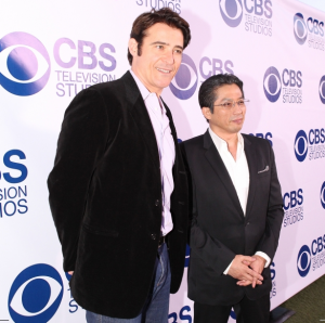 "Goran Visnjic and Hiroyuki Sanada, from then new summer show ""Extant,"" pose for a photo on the red carpet at the 2014 CBS Summer Soiree. (CBS)"