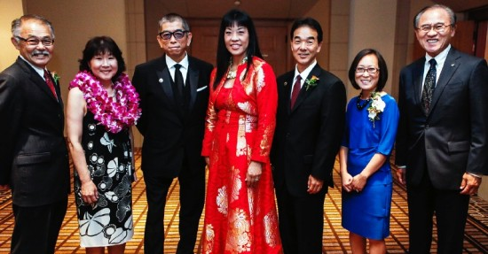 From left, honorees Victor Fukuhara, Nancy Kikuchi, Tadashi Shoji, Anne Namba and Michael Okamura with Leslie Ito, JACCC president and CEO, and Henry Ota, chairman of the JACCC board.