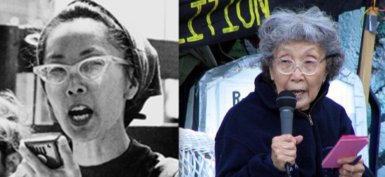 Yuri Kochiyama speaking at rallies in New York in the late 1960s and in San Francisco in the early 2000s.