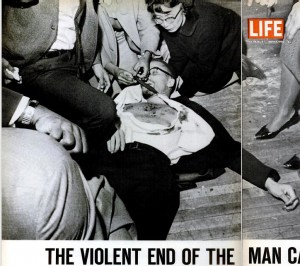 The March 5, 1965 issue of Life Magazine included this photo of Yuri Kochiyama comforting Malcolm X as he lay dying.