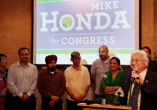 Rep. Mike Honda and his supporters celebrate on election night.