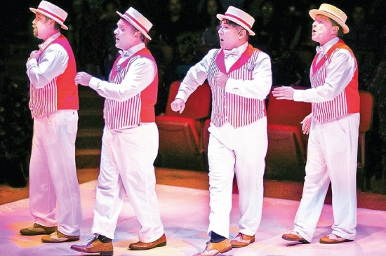 "From left: John Wallis, Alex Camp, Hisato Masuyama-Ball and Robert Schaumann in the Glendale Centre Theatre's production of ""The Music Man."""