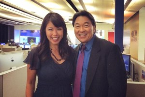 Robert Handa with news anchor Janelle Wang at the NBC Bay Area offices in San Jose.