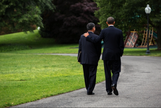 President Barack Obama walks with Veterans Affairs Secretary Eric K. Shinseki on the driveway of the South Grounds of the White House on May 30. Obama accepted Shinseki's resignation and named Deputy Secretary of Veteran Affairs Sloan D. Gibson, as acting secretary. (White House photo by Pete Souza)