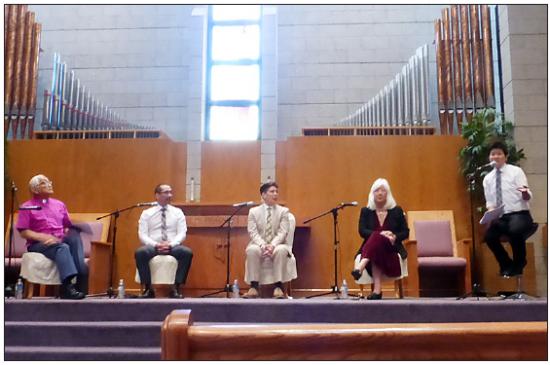 From left: Bishop Roy Sano, Eric Arimoto, Riku Matsuda, Mia Yamamoto and moderator Eileen Ma speak at Centenary United Methodist Church on May 31.