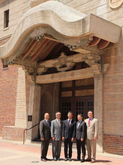 Pictured in front of JANM's historic building, the former home of Nishi Hongwanji, are (from left) GFBNEC Chairman Bill Seki, GFBNEC President Don Nose, JANM President and CEO Greg Kimura, JANM Board of Trustees Chair Gordon Yamate, GFBNEC Board of Governors Chair Chip Mamiya.