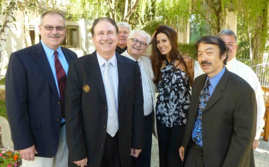 At Casey Kasem's private memorial, from left: Pete Battastini, Ron Shapiro, Peter Skye, Jeff Leonard, Kerri Kasem, Guy Aoki, and Shannon Lynn.