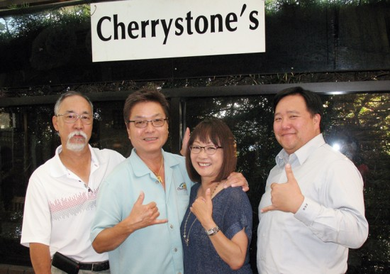 TEAM MANGO: From left, Dennis Igarashi, Leonard Kim, Audrey Kamiya, and Eric Hayashi meet at Cherrystones in Gardena ahead of next Saturday's Mangoes at the Moana Festival.
